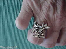 Vintage 925 Sterling Silver & Mother of Pearl 3 Dragon Fly & Marcasite Ring