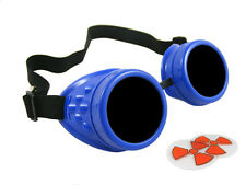 ROYAL BLUE CYBER GOGGLES STEAMPUNK WELDING GOTH COSPLAY