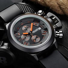 Men's Chronograph Silicone Band Date Casual Display Waterproof Wrist Watch