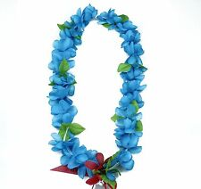Hawaiian Lei Party Luau Floral Princess Plumeria Silk Dance Flower Blue