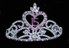 Crystal Rhinestones Tiara Sweet 15 Quinceanera w/Combs.Hot Pink. 3.5 Inches Tall
