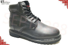 "FREE $3.99 SOCKS Men's 6"" Work Boots Shoes With Steel Toe Leather 8036ST"