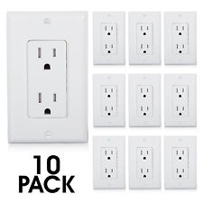 Maxxima Tamper Resistant Duplex Outlet Receptacle 15A Wall Plate Incl (10 Pack)