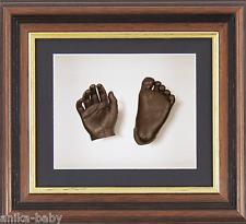Kit Molde huellas bebé Bronce 3D Pie molde Caoba Oscuro Madera efecto Marco