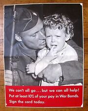Authentic 1942 WWII Poster Soldier Holding Crying Girl  Buy War Bonds