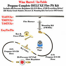 "TB74ITCK+: 74""TROUGH BURNER IN-TABLE DIY PROPANE DELUXE FIRE PIT WINE BARREL KIT"