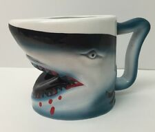 Shark Shapped Coffee Tea Cup Mug Jaws Blood Blue White