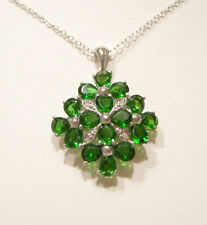 Russian Chrome Diopside/Diamond Pendant, w/ Chain, Platinum/Sterling Silver, New