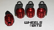 CAR VAN BIKE MOTOR QUAD RED GRENADE VALVE CAP'S DUST DUSTIES CAP SET OF 4