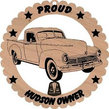 Hudson Pickup Truck Wood Ornament Engraved Large 5 3/4 Inches Round