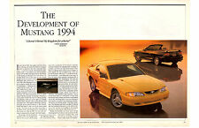 THE DEVELOPMENT OF MUSTANG 1994   ~   NICE 8-PAGE ARTICLE / AD