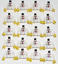 LEGO LOT OF 20 CHEF MINIFIGURE TORSOS WITH RED NECKERCHIEF PATTERN