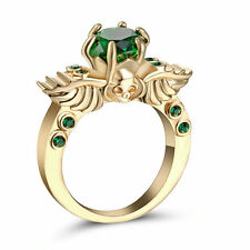 Rhodium Gold Plated ring Size 9 Wedding Engagement Green Emerald Anniversary