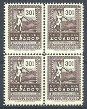 Ecuador 1954 Sc# 588 set Indian messenger Day of Postal employee block 4 MNH