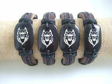 Men's Genuine Leather Tribal Wolf Totem Surfer Bracelet Bangle Wristband Cuff