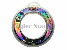 Xzoga Camo Leader 40lb/50m Camouflage Fishing Leader Line - Clear