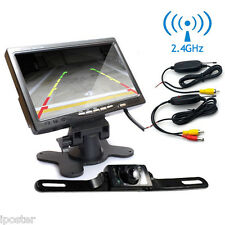 "7"" LCD Rear view Monitor+Wireless Night Vision Reverse Backup Camera Waterproof"