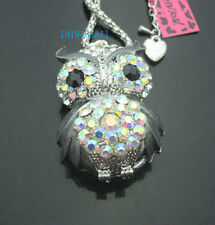 H556B?   Betsey Johnson  Crystal  AB  Enamel Cute Owl Pendant Long Necklace