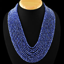581.15 CTS NATURAL 10 LINE RICH BLUE TANZANITE FACETED BEADS NECKLACE - GEM EDH