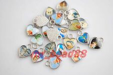 50Pcs Catholic Religious Crosses Cross Medals Heart Charms Crucifixes 13x10mm