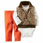 NEW Girls Carter's 3 Piece Fleece Vest Set Leopard Newborn 3 6 9 12 18 24 Months