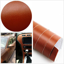 3D brown Leather Texture Sheet Car Auto Interior Trim Vinyl Film Wrap Sticker