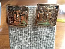 Laurel Burch Goldtone Square Chunky Egyptian Faces Earrings