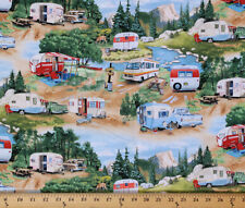 Cotton Vintage Trailers Camping Campers RV's Fabric Print by the Yard D486.32