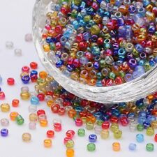 RAINBOW MIX GLASS SEED BEAD 3mm ROUND ~ x 40 grams