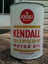 NOS- KENDALL SUPERB MOTOR OIL CAN 1-Qrt.Composite UNOPENED/ FULL Gas&Oil