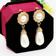 Elegant Women Girl Gold Plated Jewelry Pearl Drop Dangle Stud Earrings
