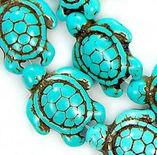 """13x17mm Carved Blue Howlite Turquoise Turtle Beads 15"""""""