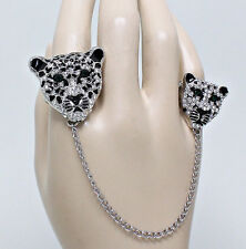 Glam Animal Leopard Cheetah Duo Emerald CRYSTAL Chain Link Finger Rings