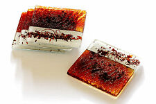 FUSED GLASS ART HONEY WHITE HANDMADE GLASS COASTERS FLIGHT OF  ICARUS 4H90