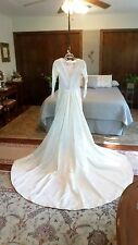245M Vtg '34 Wedding Dress/Gown Cath. Length w/Train Ivory Satin Size 4P IMMAC!!