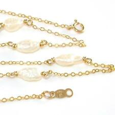 """14K Yellow Gold White Pearl Station Necklace 18.25""""  QZ"""