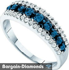 blue white natural diamond .50 carat 10k white gold  ring anniversary band