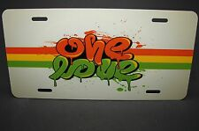 ONE LOVE, BOB MARLEY LICENSE PLATE FOR CARS METAL ALUMINUM NOVELTY PLATE