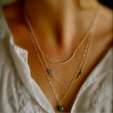 Gold Plated Three Layer Turquoise Beads Eye Pendent Necklace Chain Statement
