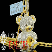 Diamond Teddy Bear Pendant Ladies 14K Yellow Gold Finish Round Pave 3D Charm