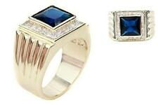 18K GOLD EP 9.0CT CZ SAPPHIRE MENS DRESS RING sz 10 or T 1/2