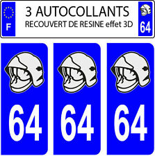 3 sticker plaque immatriculation auto DOMING 3D RESINE CASQUE POMPIER DEPARTE 64