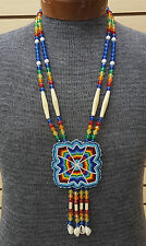 HAND CRAFTED CUT BEADED GEOMETRIC DES. ROSETTE NATIVE AMERICAN INDIAN NECKLACE