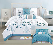 7-Pc Embroidery Leaves Trellis Reversible Comforter Set Blue White Silver Queen