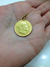 GOLD COIN PENDANT 1908 EDWARDVS Vll  D: G: BRITT: OMN: REX F: D: IND: IMP-RARE