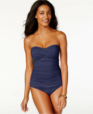 NWT NEW Anne Cole Twisted Front Bandeau One Piece Swimsuit Navy 16 $92 n03