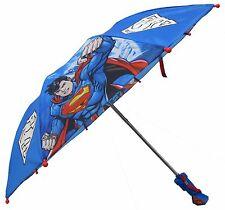 **DC Comics Superman Boys Blue Compact Umbrella - 3D Handle SUR64602ST NEW!**