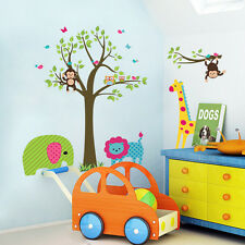 Wall Stickers Jungle Animal Owl Lion Monkey Tree Baby Room Nursery Decal Art
