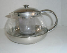 Glass Stainless Steel Tea Pot with Leaf Strainer Infuser 3 Cup Teapot
