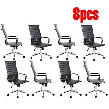 Lot of 8 High Back Black Ribbed Upholstered PU Leather Executive Office Chair